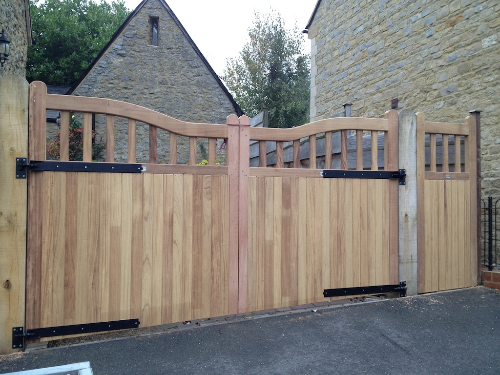 Bespoke sloped Hardwood Gates